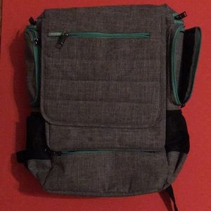 Grey and mint backpack